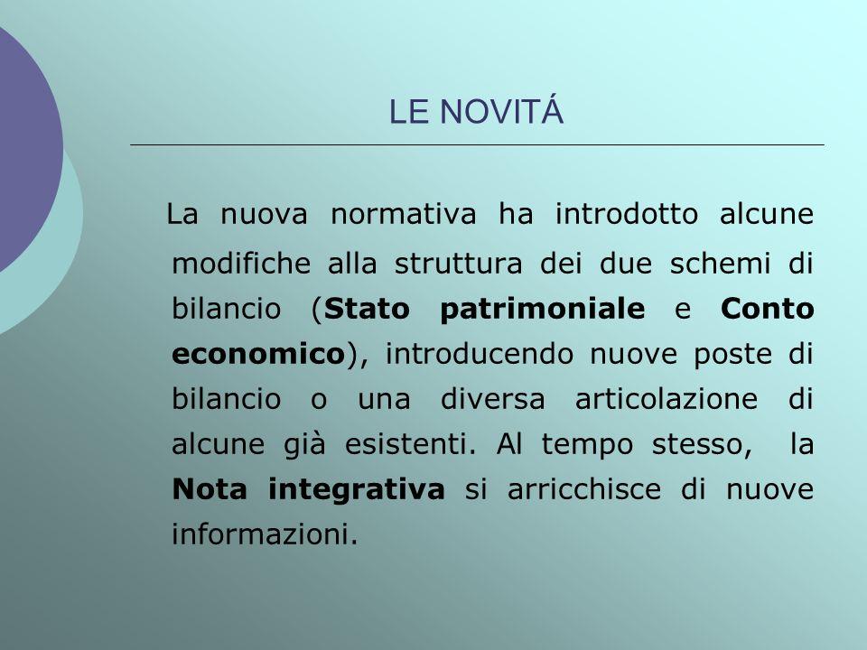 LE NOVITÁ La nuova normativa ha introdotto alcune modifiche alla struttura dei due schemi di bilancio (Stato patrimoniale e Conto economico), introduc