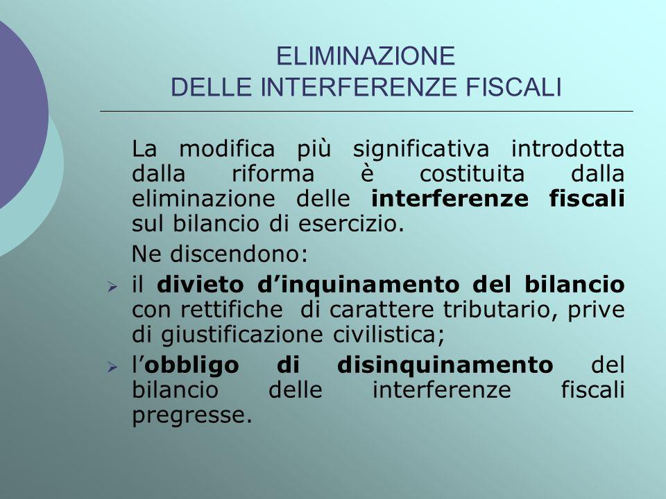 ELIMINAZIONE DELLE INTERFERENZE FISCALI La modifica più significativa introdotta dalla riforma è costituita dalla eliminazione delle interferenze fisc