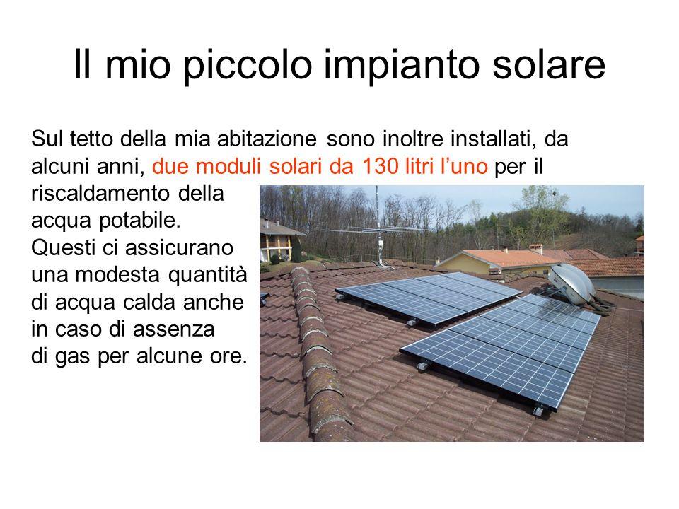 Il mio piccolo impianto solare Sul tetto della mia abitazione sono inoltre installati, da alcuni anni, due moduli solari da 130 litri luno per il risc
