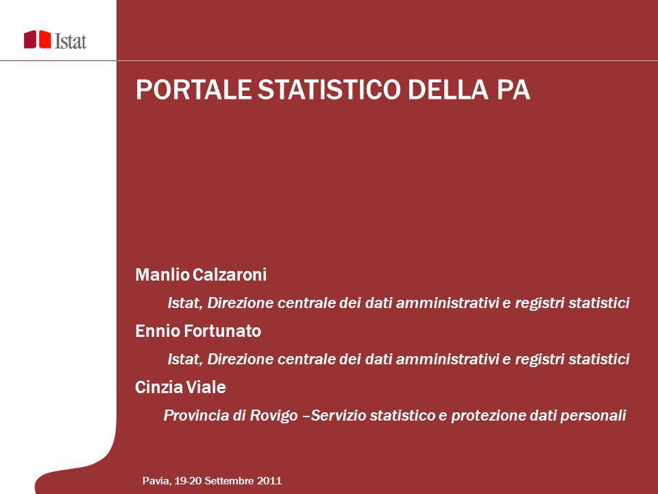 Manlio Calzaroni Istat, Direzione centrale dei dati amministrativi e registri statistici Ennio Fortunato Istat, Direzione centrale dei dati amministra