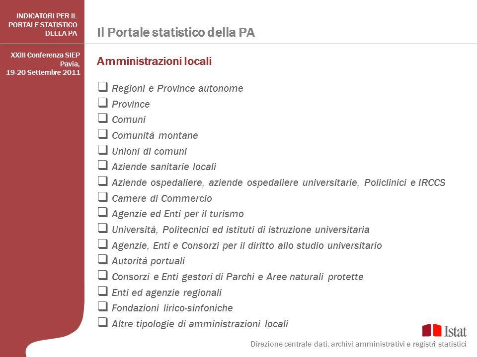 Il Portale statistico della PA Direzione centrale dati, archivi amministrativi e registri statistici INDICATORI PER IL PORTALE STATISTICO DELLA PA Amm