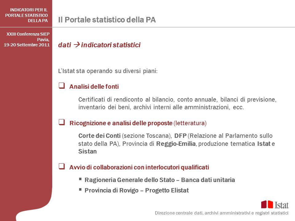 Il Portale statistico della PA Direzione centrale dati, archivi amministrativi e registri statistici INDICATORI PER IL PORTALE STATISTICO DELLA PA dat
