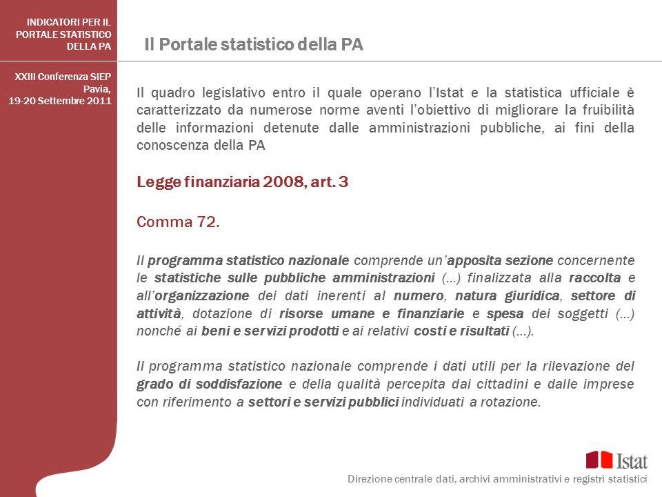 Il Portale statistico della PA XXIII Conferenza SIEP Pavia, 19-20 Settembre 2011 Il quadro legislativo entro il quale operano lIstat e la statistica u