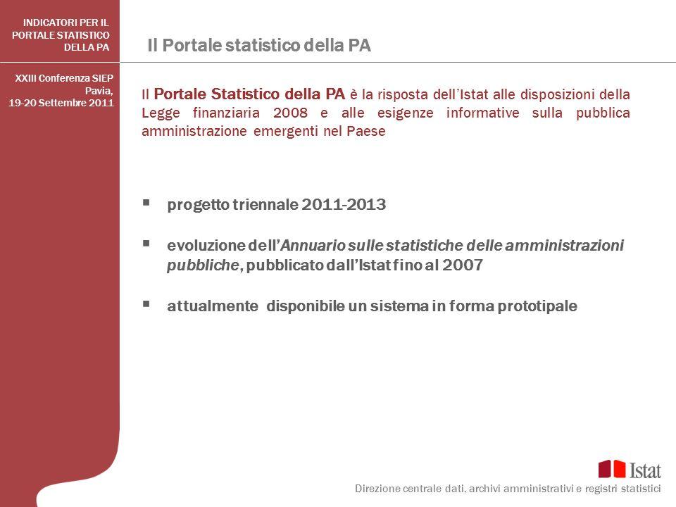 Il Portale statistico della PA Il Portale Statistico della PA è la risposta dellIstat alle disposizioni della Legge finanziaria 2008 e alle esigenze i