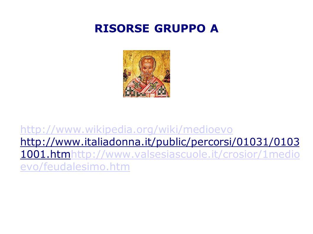 RISORSE GRUPPO A http://www.wikipedia.org/wiki/medioevo http://www.italiadonna.it/public/percorsi/01031/0103 1001.htmhttp://www.valsesiascuole.it/cros