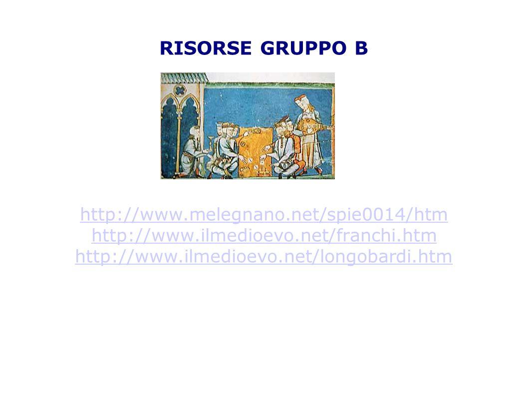 RISORSE GRUPPO C http://www.valsesiascuole.it/crosior/1medioevo/feuda lesimo.htm http://www.scuolascacchi.com/medioevo/feudalesimo.htm http://cronologia.leonardo.it/umanita/cap062.htm http://it.wikipedia.org/wiki/Carlo_Magno.htm