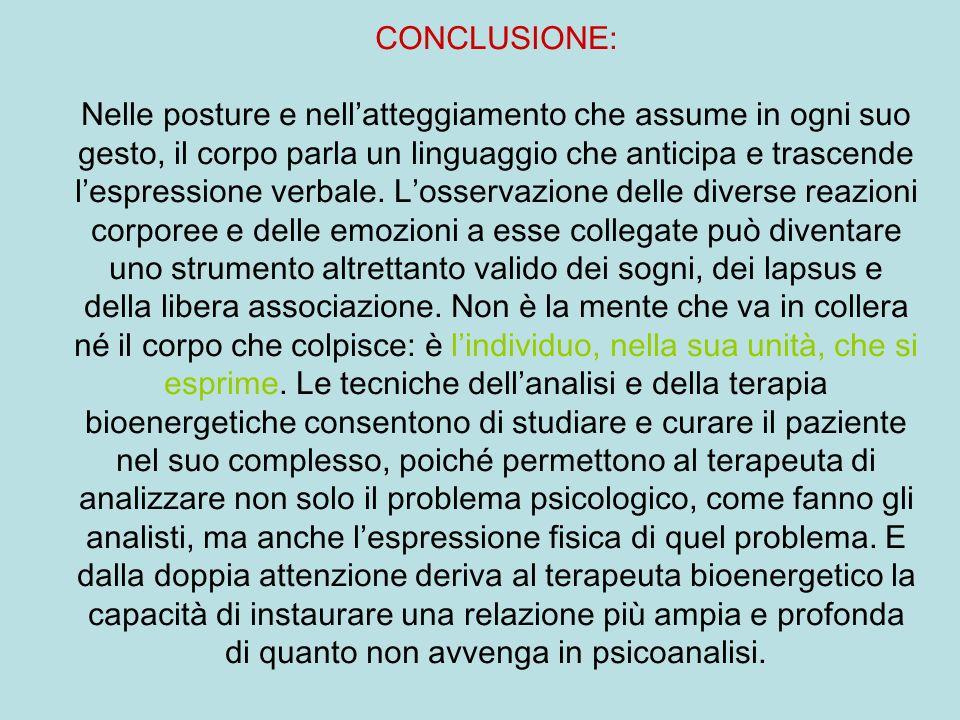 CONCLUSIONE: Nelle posture e nellatteggiamento che assume in ogni suo gesto, il corpo parla un linguaggio che anticipa e trascende lespressione verbal