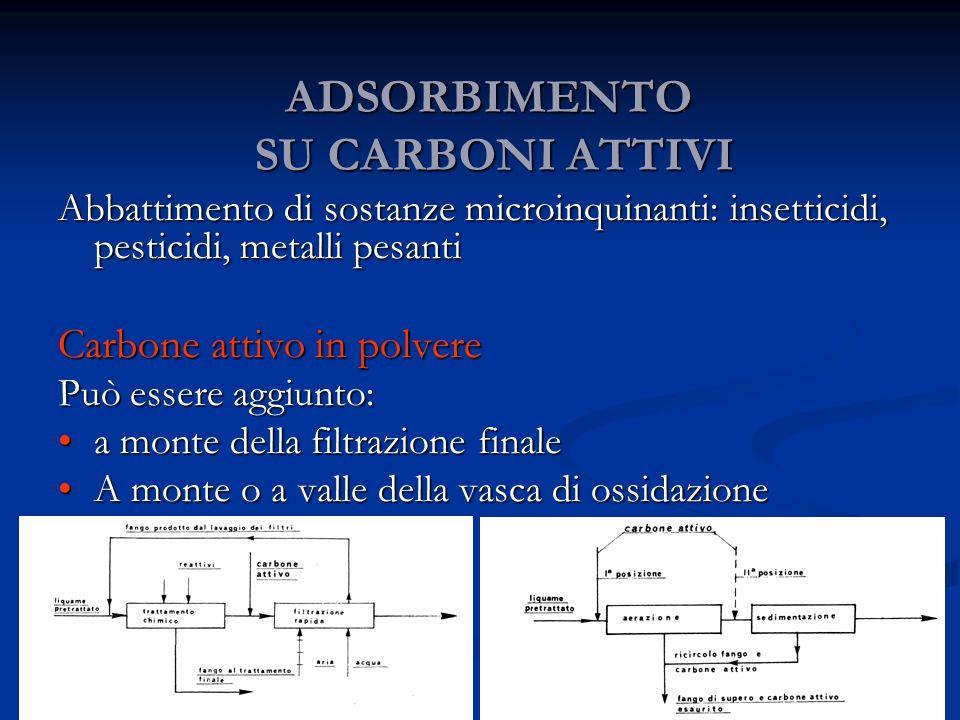 ADSORBIMENTO SU CARBONI ATTIVI Abbattimento di sostanze microinquinanti: insetticidi, pesticidi, metalli pesanti Carbone attivo in polvere Può essere