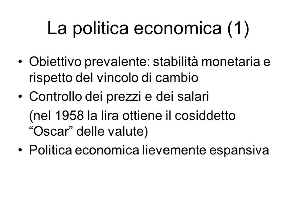 La politica economica (1) Obiettivo prevalente: stabilità monetaria e rispetto del vincolo di cambio Controllo dei prezzi e dei salari (nel 1958 la lira ottiene il cosiddetto Oscar delle valute) Politica economica lievemente espansiva