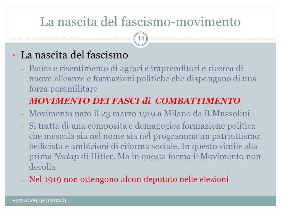 La nascita del fascismo-movimento La nascita del fascismo – Paura e risentimento di agrari e imprenditori e ricerca di nuove alleanze e formazioni pol