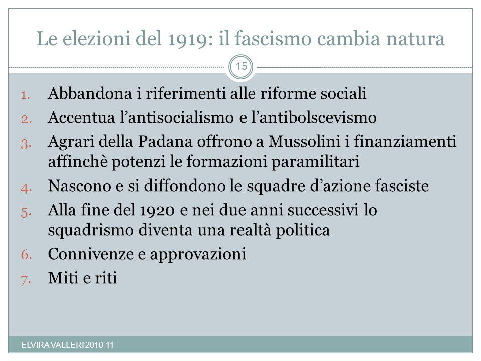 Le elezioni del 1919: il fascismo cambia natura 1. Abbandona i riferimenti alle riforme sociali 2. Accentua lantisocialismo e lantibolscevismo 3. Agra