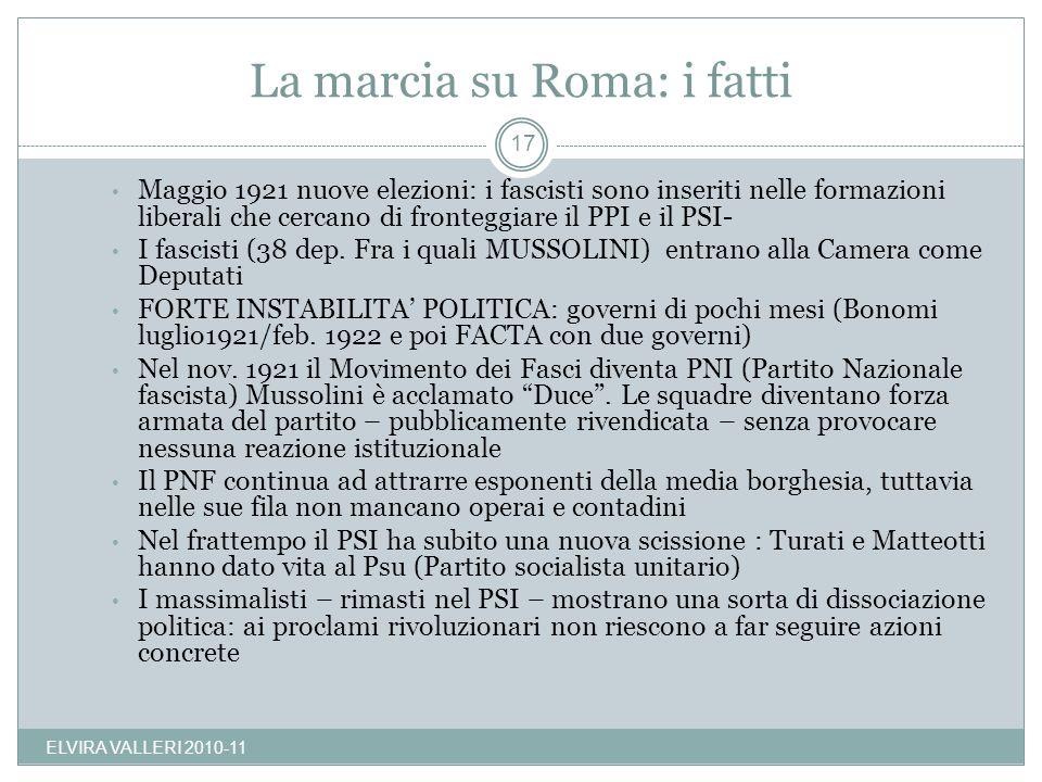 La marcia su Roma: i fatti Maggio 1921 nuove elezioni: i fascisti sono inseriti nelle formazioni liberali che cercano di fronteggiare il PPI e il PSI-