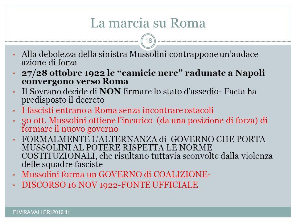 La marcia su Roma Alla debolezza della sinistra Mussolini contrappone unaudace azione di forza 27/28 ottobre 1922 le camicie nere radunate a Napoli co