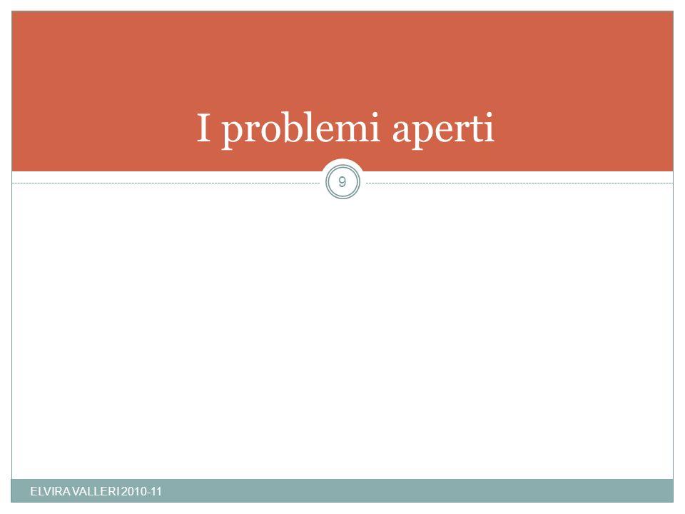 I problemi aperti ELVIRA VALLERI 2010-11 9