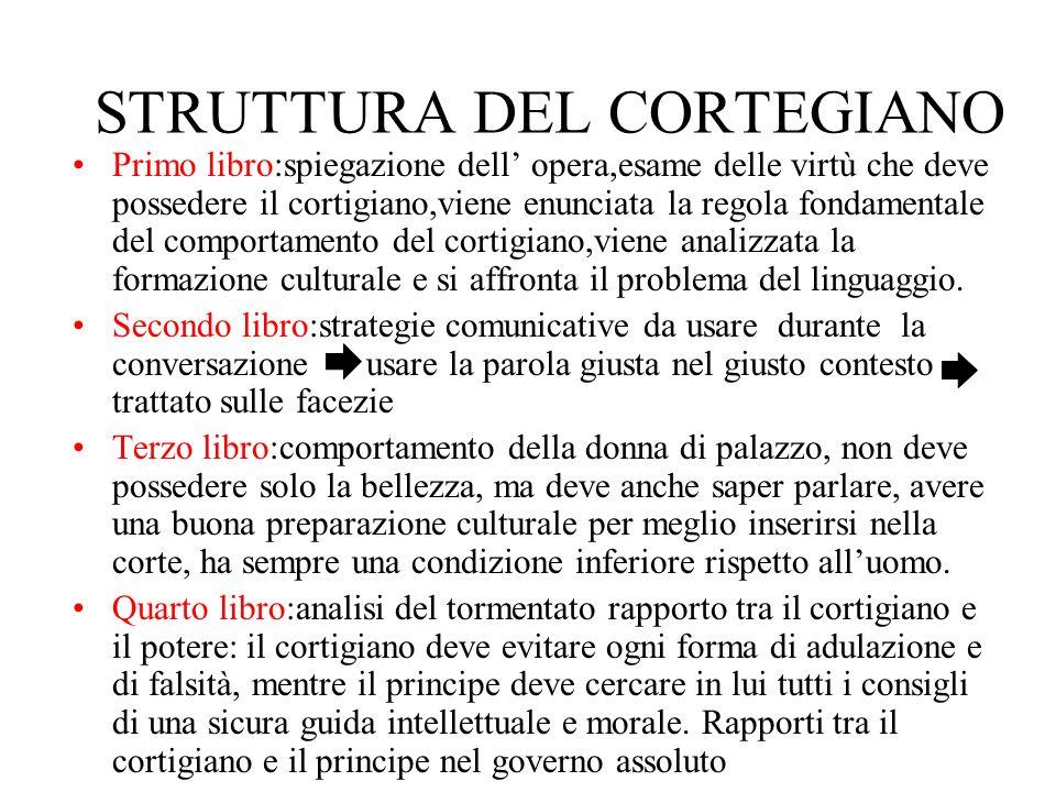 STRUTTURA DEL CORTEGIANO Primo libro:spiegazione dell opera,esame delle virtù che deve possedere il cortigiano,viene enunciata la regola fondamentale