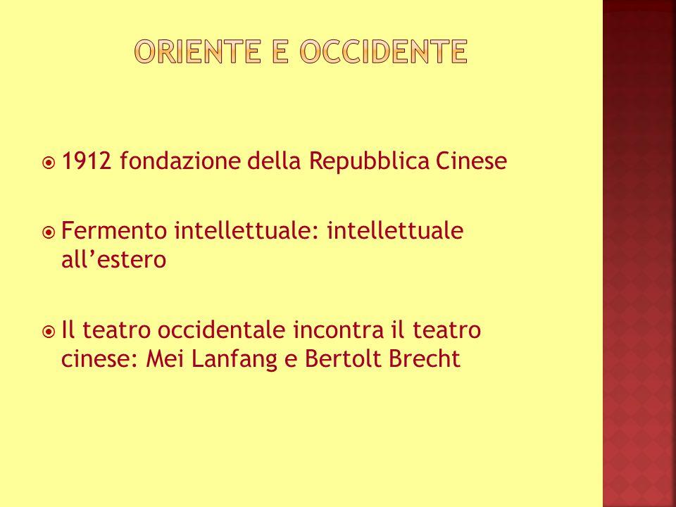 1912 fondazione della Repubblica Cinese Fermento intellettuale: intellettuale allestero Il teatro occidentale incontra il teatro cinese: Mei Lanfang e