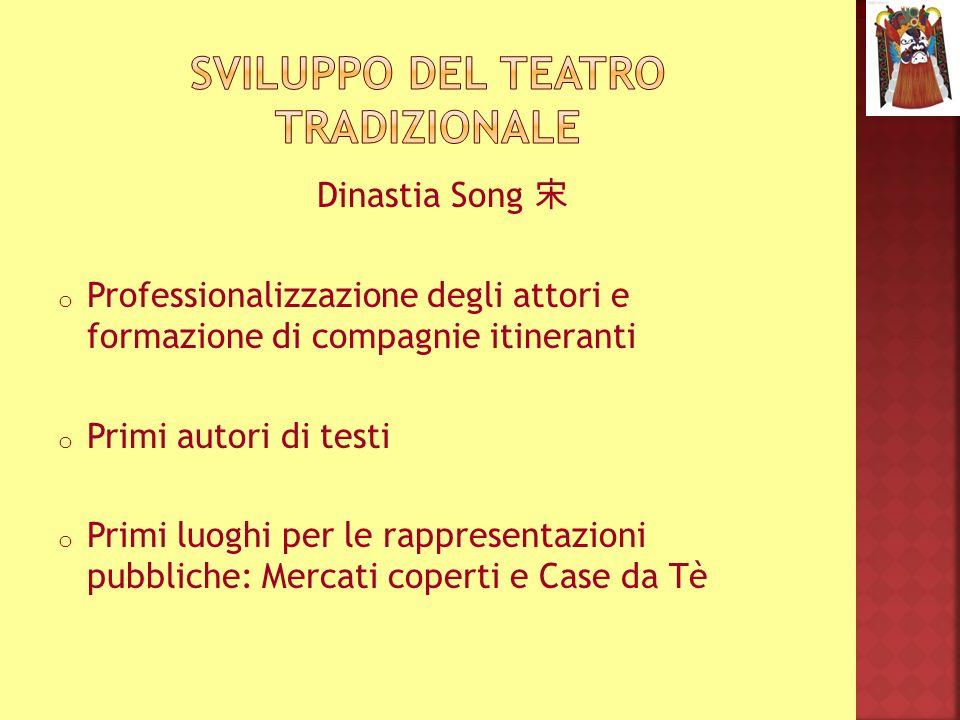 Dinastia Song o Professionalizzazione degli attori e formazione di compagnie itineranti o Primi autori di testi o Primi luoghi per le rappresentazioni