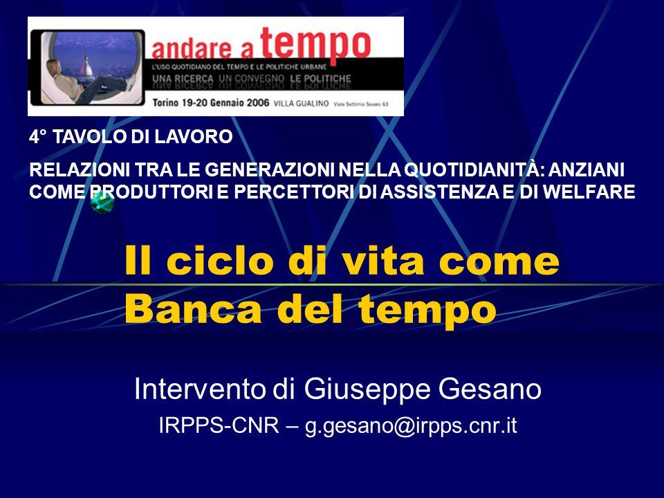 Il ciclo di vita come Banca del tempo Intervento di Giuseppe Gesano IRPPS-CNR – g.gesano@irpps.cnr.it 4° TAVOLO DI LAVORO RELAZIONI TRA LE GENERAZIONI