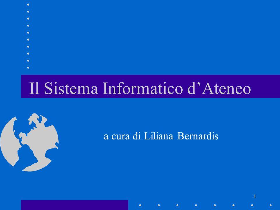1 Il Sistema Informatico dAteneo a cura di Liliana Bernardis
