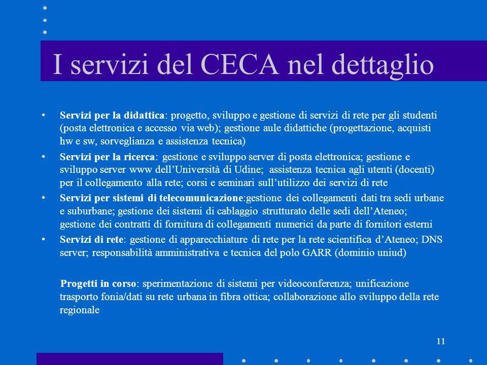 11 I servizi del CECA nel dettaglio Servizi per la didattica: progetto, sviluppo e gestione di servizi di rete per gli studenti (posta elettronica e a