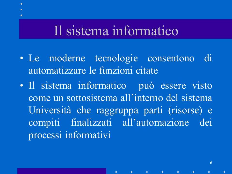 7 Il sistema informatico: le risorse risorse esterne risorse interne (di scambio) risorse interne (di struttura) risorse interne (di gestione) esigenze informative dellUniversità e utenti i servizi informatici personale, finanze, strumentazione hardware, software norme, piani, deleghe