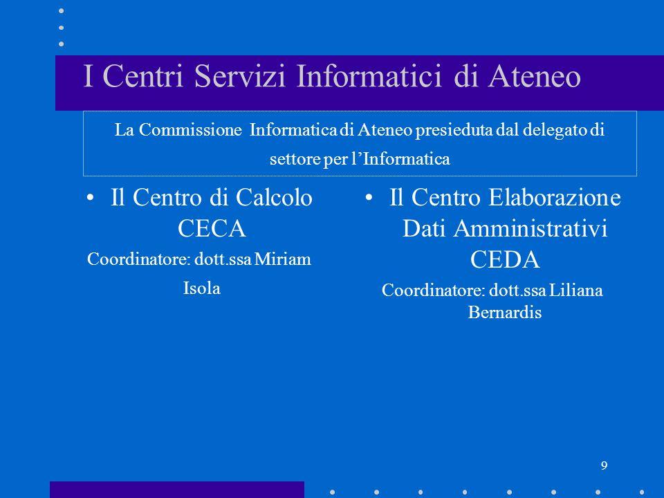 9 I Centri Servizi Informatici di Ateneo Il Centro di Calcolo CECA Coordinatore: dott.ssa Miriam Isola Il Centro Elaborazione Dati Amministrativi CEDA