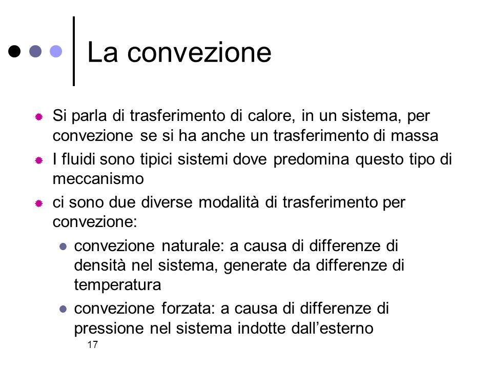 17 La convezione Si parla di trasferimento di calore, in un sistema, per convezione se si ha anche un trasferimento di massa I fluidi sono tipici sist