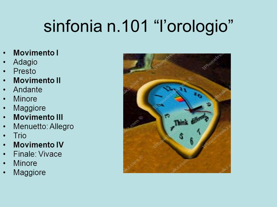 sinfonia n.101 lorologio Movimento I Adagio Presto Movimento II Andante Minore Maggiore Movimento III Menuetto: Allegro Trio Movimento IV Finale: Viva
