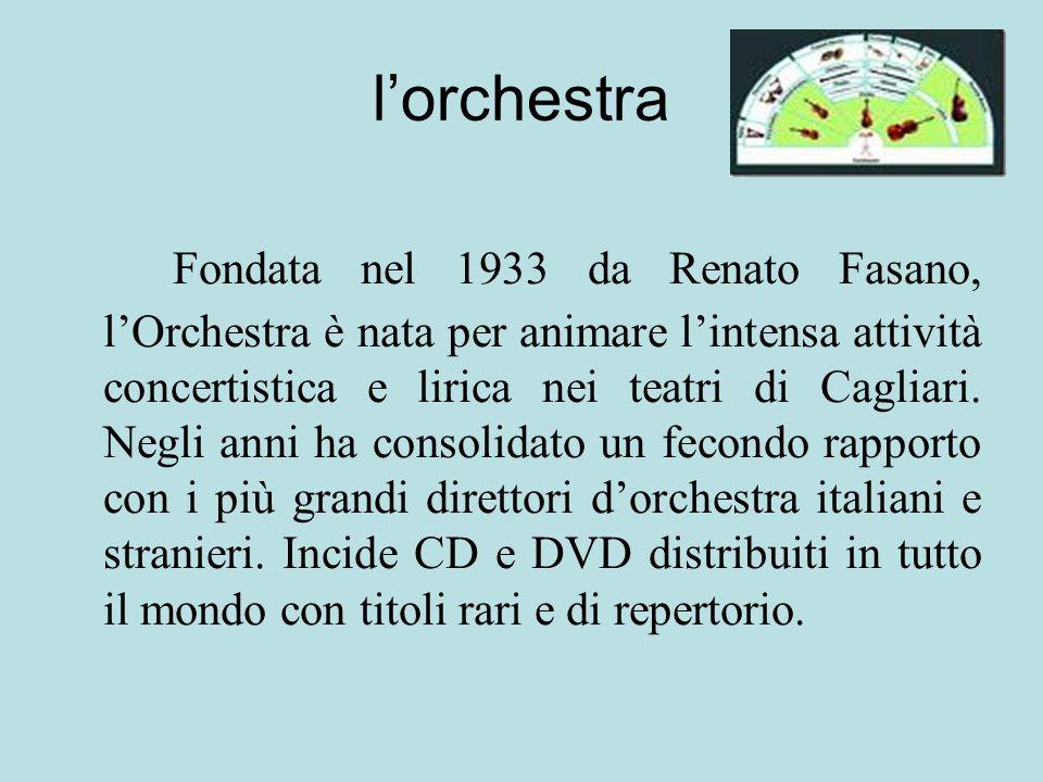 lorchestra Fondata nel 1933 da Renato Fasano, lOrchestra è nata per animare lintensa attività concertistica e lirica nei teatri di Cagliari. Negli ann