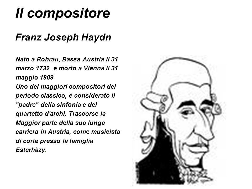 Il compositore Franz Joseph Haydn Nato a Rohrau, Bassa Austria il 31 marzo 1732 e morto a Vienna il 31 maggio 1809 Uno dei maggiori compositori del pe