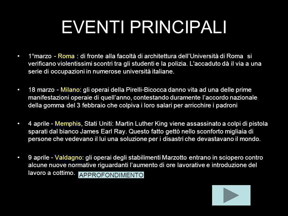 EVENTI PRINCIPALI 1°marzo - Roma : di fronte alla facoltà di architettura dellUniversità di Roma si verificano violentissimi scontri tra gli studenti e la polizia.