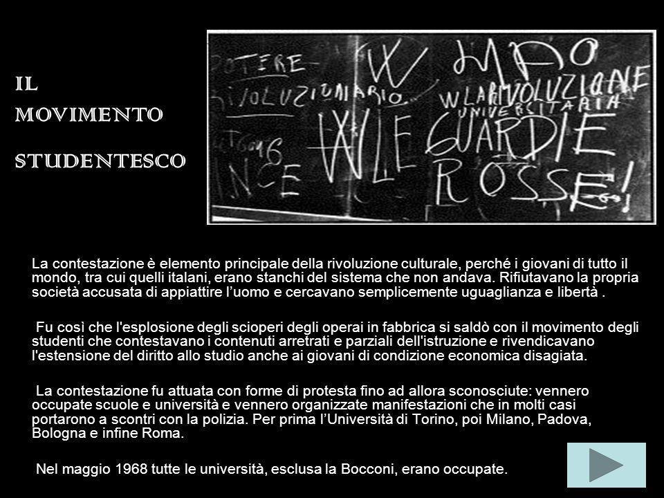 La contestazione è elemento principale della rivoluzione culturale, perché i giovani di tutto il mondo, tra cui quelli italani, erano stanchi del sistema che non andava.