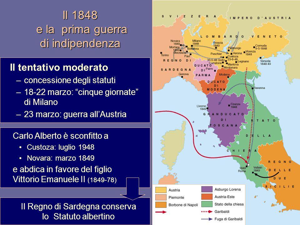 Il 1848 e la prima guerra di indipendenza Il tentativo moderato –concessione degli statuti –18-22 marzo: cinque giornate di Milano –23 marzo: guerra a