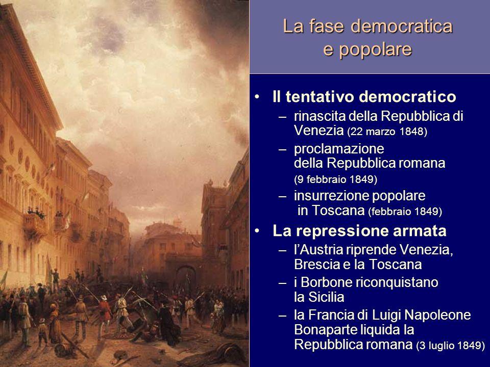 La fase democratica e popolare Il tentativo democratico –rinascita della Repubblica di Venezia (22 marzo 1848) –proclamazione della Repubblica romana