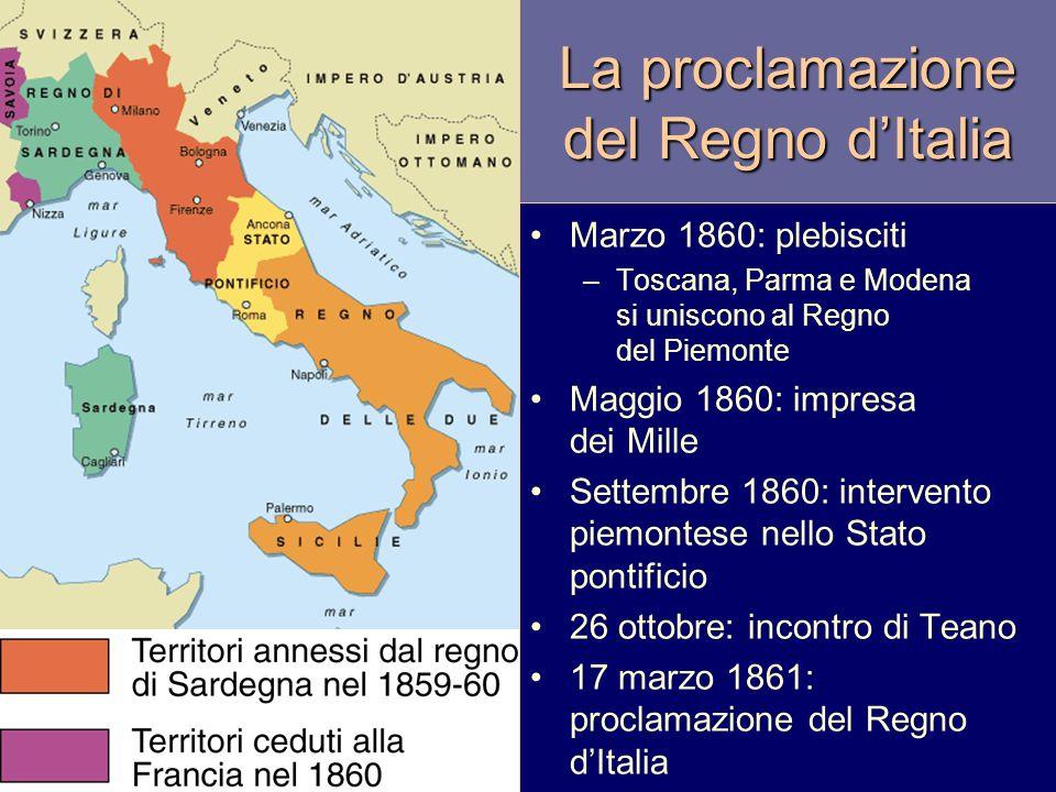 La proclamazione del Regno dItalia Marzo 1860: plebisciti –Toscana, Parma e Modena si uniscono al Regno del Piemonte Maggio 1860: impresa dei Mille Se