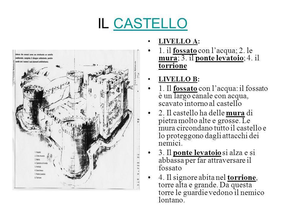IL CASTELLOCASTELLO LIVELLO A: 1. il fossato con lacqua; 2. le mura; 3. il ponte levatoio; 4. il torrione LIVELLO B: 1. Il fossato con lacqua: il foss