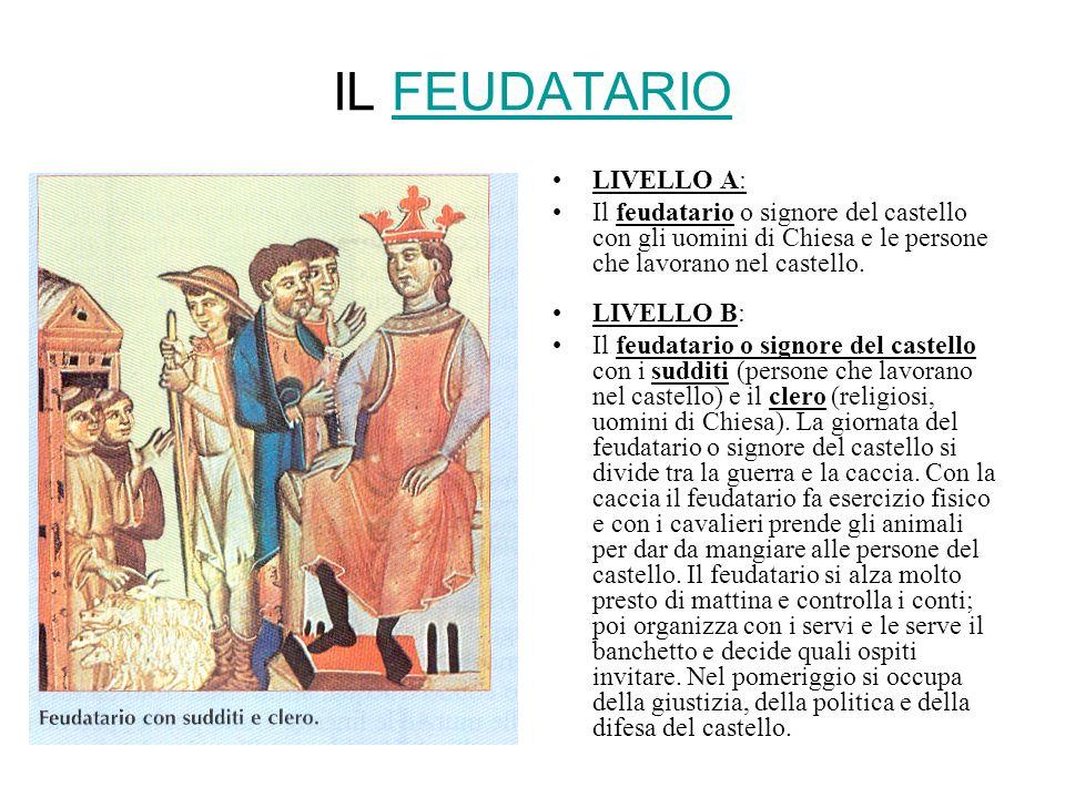 IL FEUDATARIOFEUDATARIO LIVELLO A: Il feudatario o signore del castello con gli uomini di Chiesa e le persone che lavorano nel castello. LIVELLO B: Il