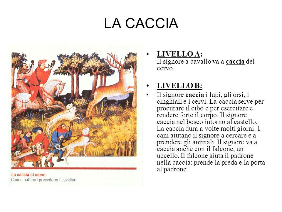 LA CACCIA LIVELLO A: Il signore a cavallo va a caccia del cervo. LIVELLO B: Il signore caccia i lupi, gli orsi, i cinghiali e i cervi. La caccia serve