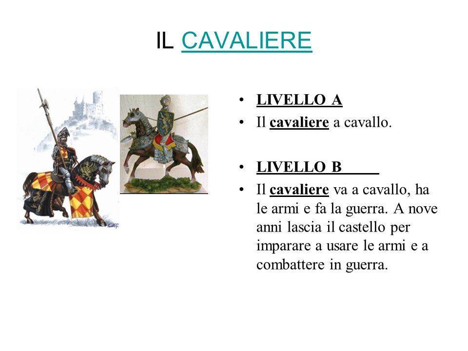 IL CAVALIERECAVALIERE LIVELLO A Il cavaliere a cavallo. LIVELLO B Il cavaliere va a cavallo, ha le armi e fa la guerra. A nove anni lascia il castello
