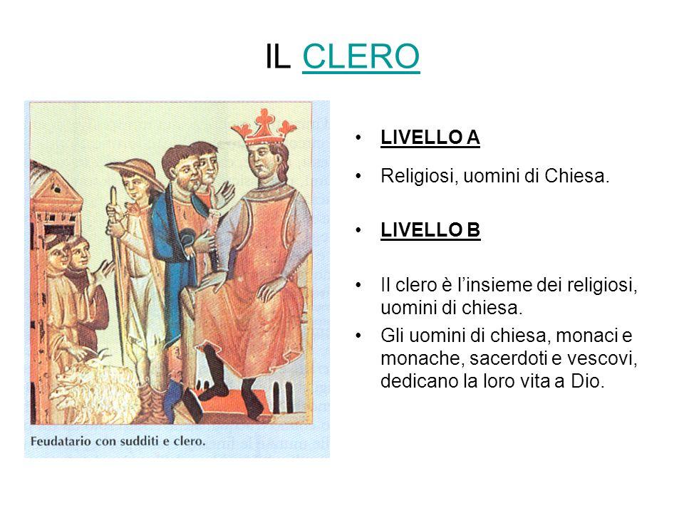 IL CLEROCLERO LIVELLO A Religiosi, uomini di Chiesa. LIVELLO B Il clero è linsieme dei religiosi, uomini di chiesa. Gli uomini di chiesa, monaci e mon