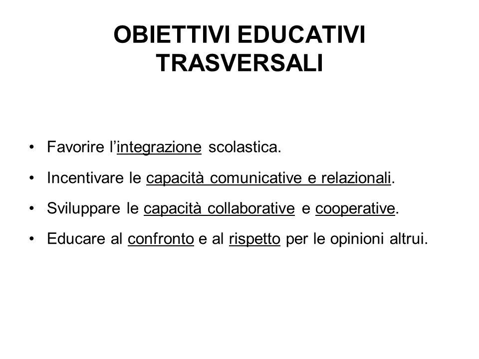 OBIETTIVI EDUCATIVI TRASVERSALI Favorire lintegrazione scolastica. Incentivare le capacità comunicative e relazionali. Sviluppare le capacità collabor