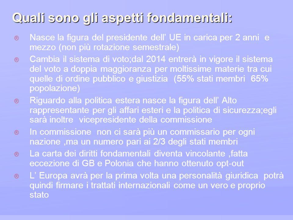 Quali sono gli aspetti fondamentali: Nasce la figura del presidente dell UE in carica per 2 anni e mezzo (non più rotazione semestrale) Cambia il sist