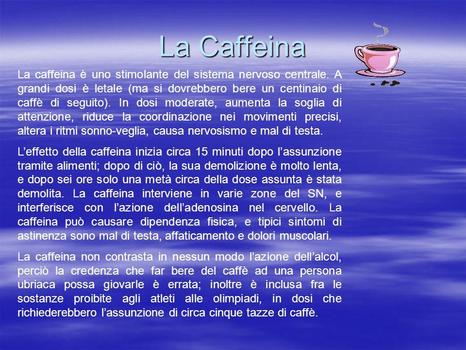 La Caffeina La caffeina è uno stimolante del sistema nervoso centrale. A grandi dosi è letale (ma si dovrebbero bere un centinaio di caffè di seguito)