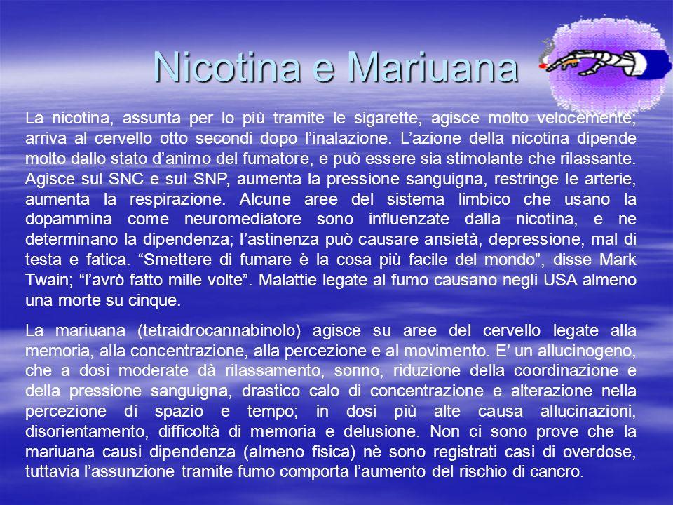 Nicotina e Mariuana La nicotina, assunta per lo più tramite le sigarette, agisce molto velocemente; arriva al cervello otto secondi dopo linalazione.