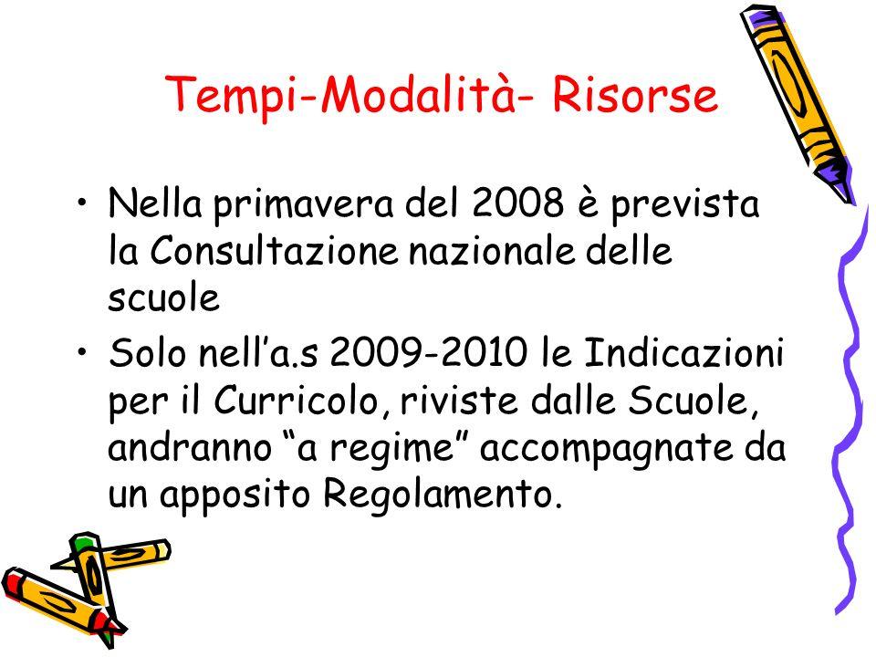Tempi-Modalità- Risorse Nella primavera del 2008 è prevista la Consultazione nazionale delle scuole Solo nella.s 2009-2010 le Indicazioni per il Curri