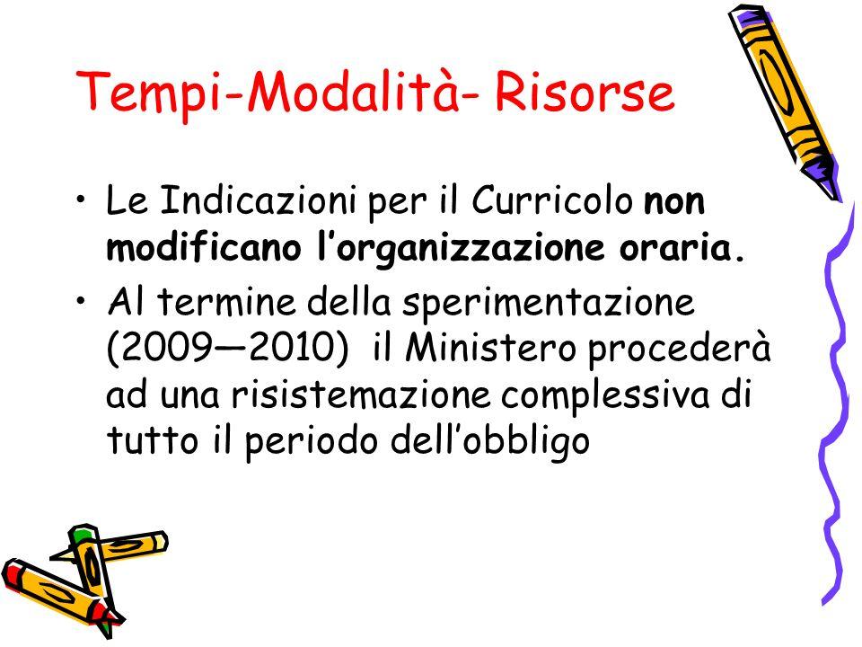 Tempi-Modalità- Risorse Le Indicazioni per il Curricolo non modificano lorganizzazione oraria. Al termine della sperimentazione (20092010) il Minister
