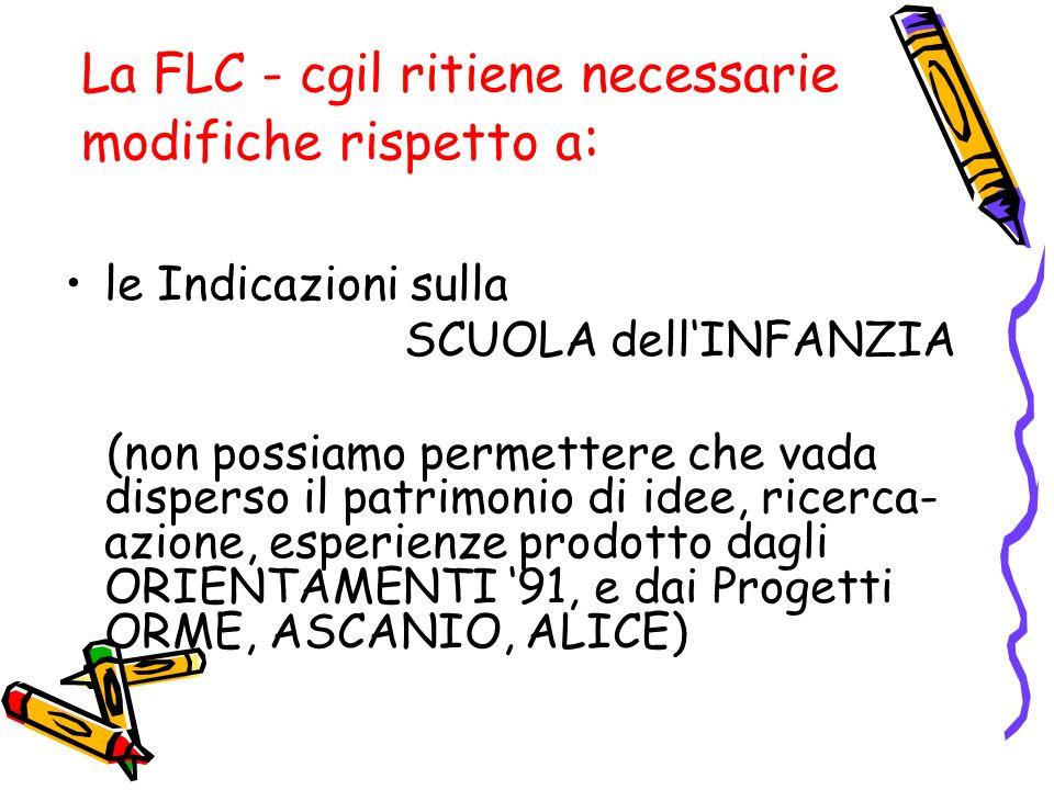 La FLC - cgil ritiene necessarie modifiche rispetto a : le Indicazioni sulla SCUOLA dellINFANZIA (non possiamo permettere che vada disperso il patrimo