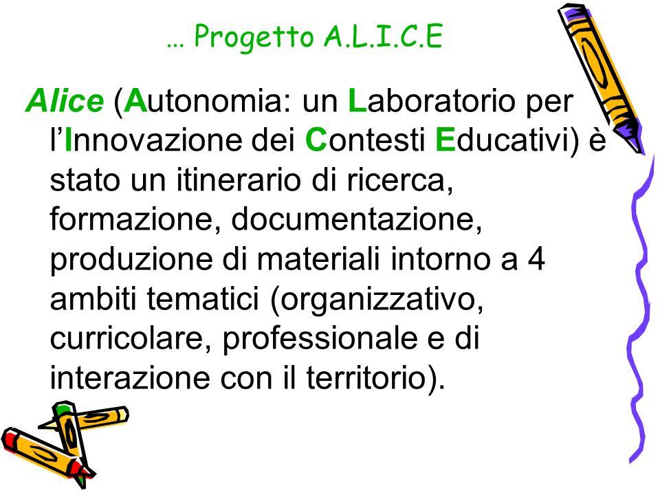 … Progetto A.L.I.C.E Alice (Autonomia: un Laboratorio per lInnovazione dei Contesti Educativi) è stato un itinerario di ricerca, formazione, documenta
