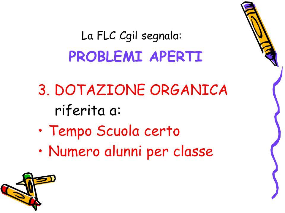 La FLC Cgil segnala: PROBLEMI APERTI 3. DOTAZIONE ORGANICA riferita a: Tempo Scuola certo Numero alunni per classe