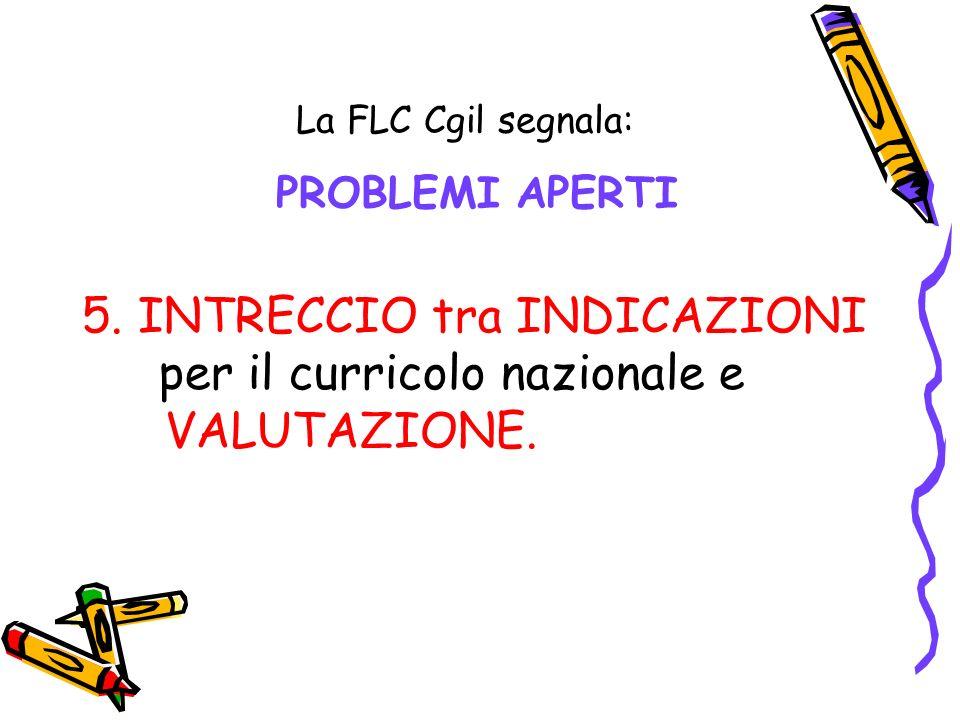 La FLC Cgil segnala: PROBLEMI APERTI 5. INTRECCIO tra INDICAZIONI per il curricolo nazionale e VALUTAZIONE.